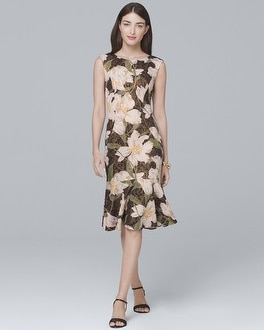 Floral-PrintTrumpet-Hem Sheath Dress | Tuggl