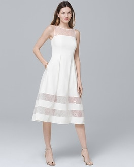 White Illusion Fit-and-Flare Dress | Tuggl
