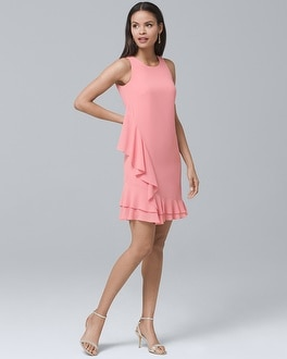 Flounce-Hem Shift Dress | Tuggl