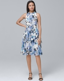 Tiered-Skirt Floral Dress | Tuggl