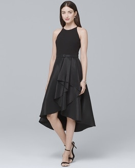 Mixed-Media High-Low Black Dress | Tuggl
