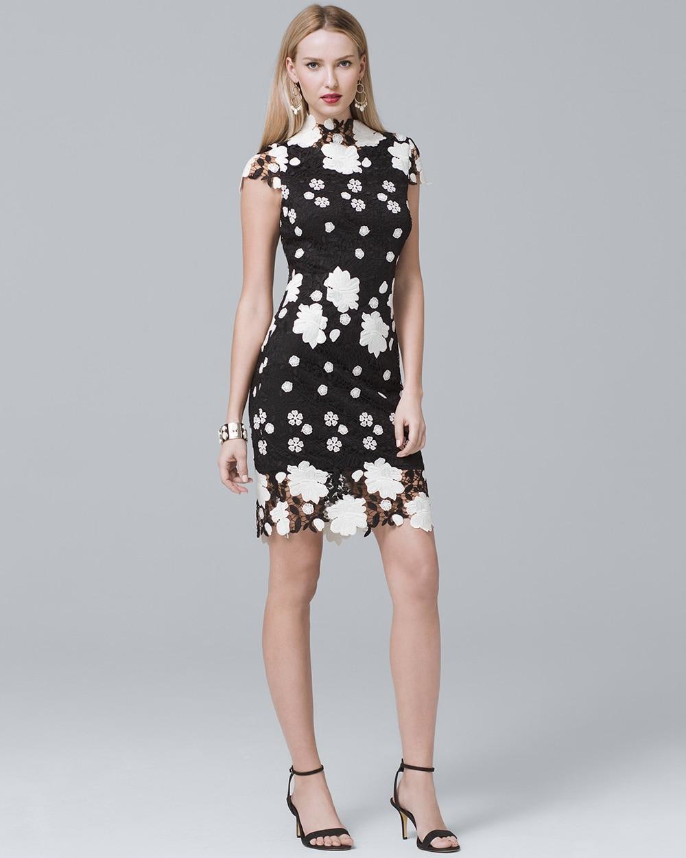 Cap Sleeve Floral Lace Sheath Dress White House Black Market