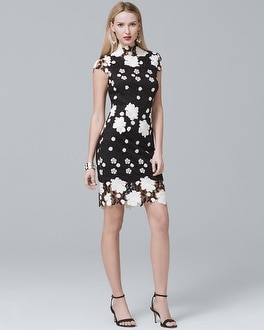 Cap-Sleeve Floral Lace Sheath Dress at White House | Black Market in Sherman Oaks, CA | Tuggl