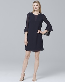 Drama-Sleeve Illusion Shift Dress | Tuggl