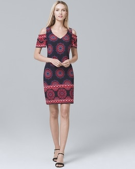 Cold-Shoulder Printed Knit Shift Dress | Tuggl