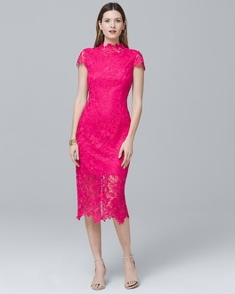 Mock-Neck Lace Sheath Dress | Tuggl