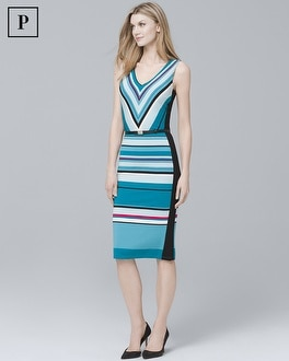 Petite Chevron-Stripe Knit Sheath Dress | Tuggl