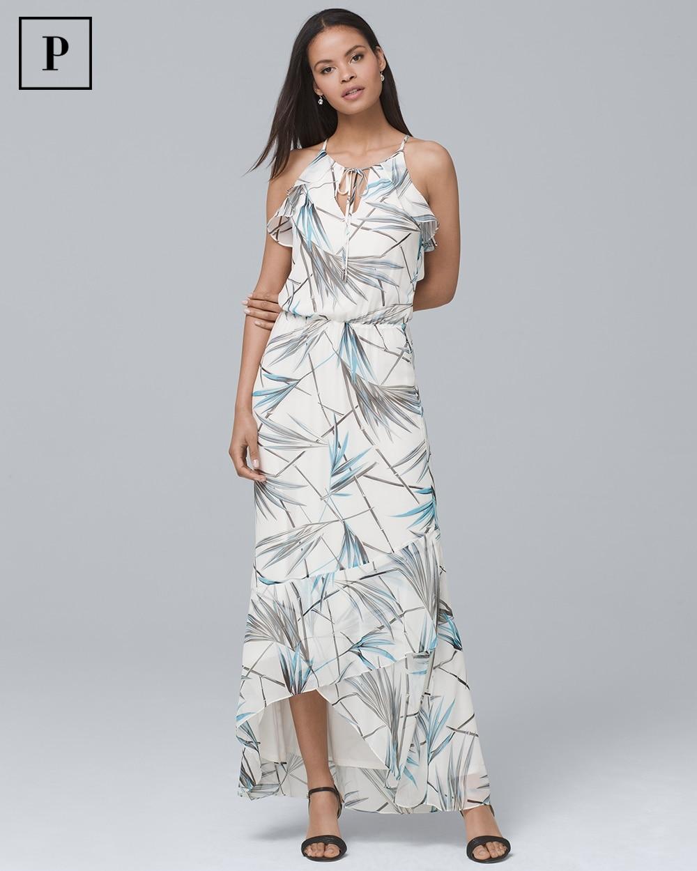 Petite Bamboo Print High Low Maxi Dress White House Black Market