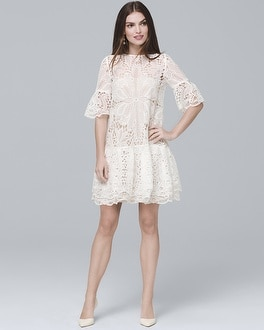 White Bell-Sleeve Lace Shift Dress | Tuggl