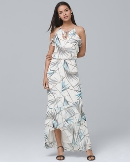 Bamboo-Print High-Low Maxi Dress | Tuggl