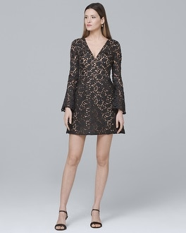 Bell-Sleeve Lace A-Line Dress | Tuggl