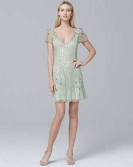 Beaded Shift Dress | Tuggl