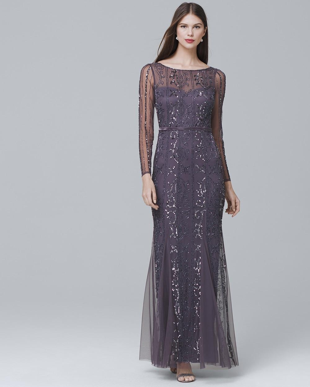 Long-Sleeve Beaded Gown - White House Black Market