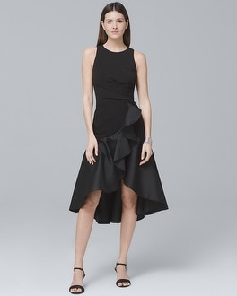 Mixed-Media Black Flounce Dress | Tuggl