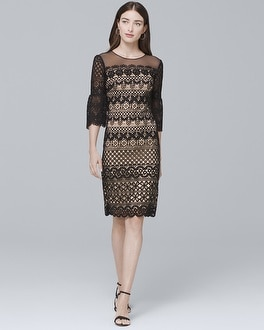 Bell-Sleeve Lace Shift Dress | Tuggl