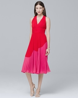 Pleated Colorblock Fit-and-Flare Dress | Tuggl
