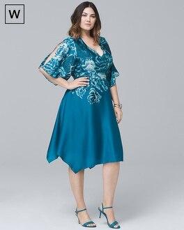 Plus V-Neck Floral Satin Fit-and-Flare Dress | Tuggl