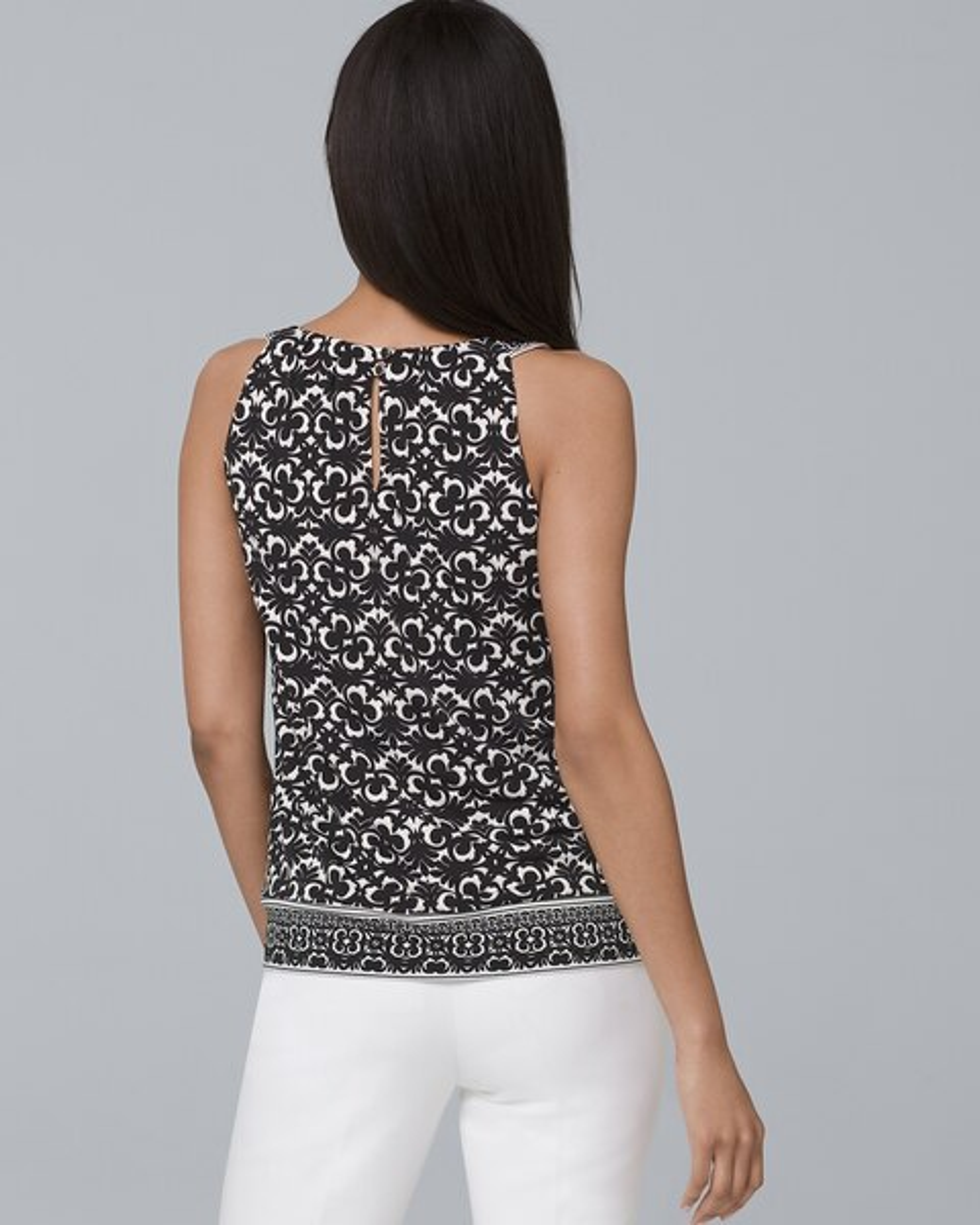 Tile Print Knit Halter Top White House Black Market