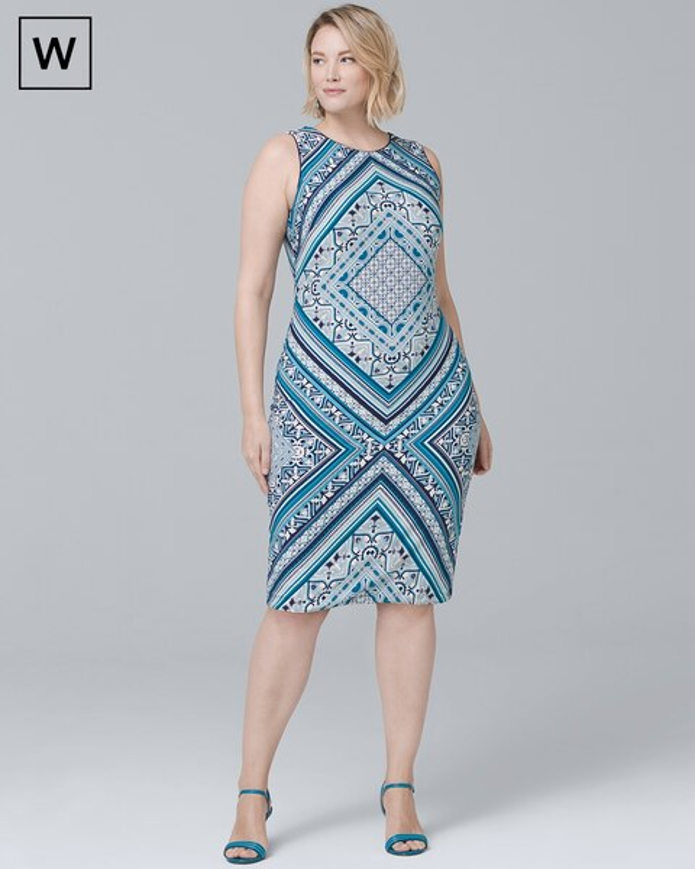 c21fac89 Plus Reversible Scarf-Print Knit Sheath Dress - White House Black Market