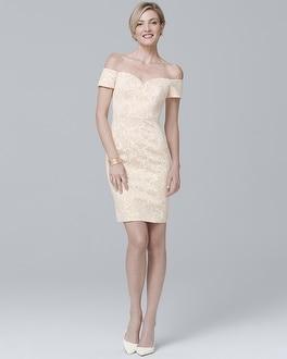 Badgley Mischka Off-the-Shoulder Sheath Dress at White House | Black Market in Sherman Oaks, CA | Tuggl