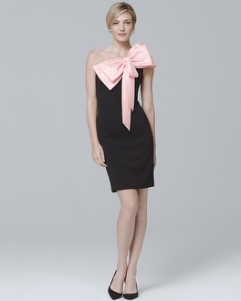 One-Shoulder Bow-Front Dress | Tuggl