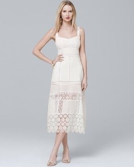 White Lace Midi Dress | Tuggl