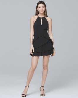 Parker Sleevless Ruffle-Detail Black Dress | Tuggl