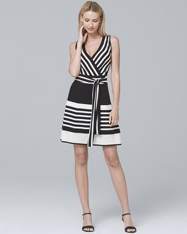 Multi-Stripe Fit-and-Flare Dress | Tuggl