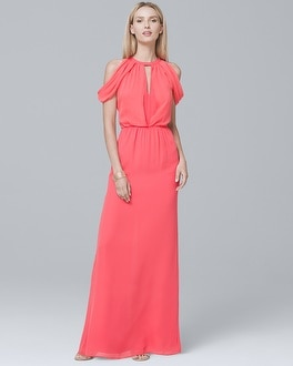 Parker Black Draped Cold-Shoulder Gown | Tuggl