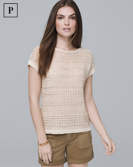 Petite Short-Sleeve Open-Knit Pullover