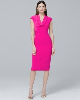Draped-Neck Ruched Dress | Tuggl