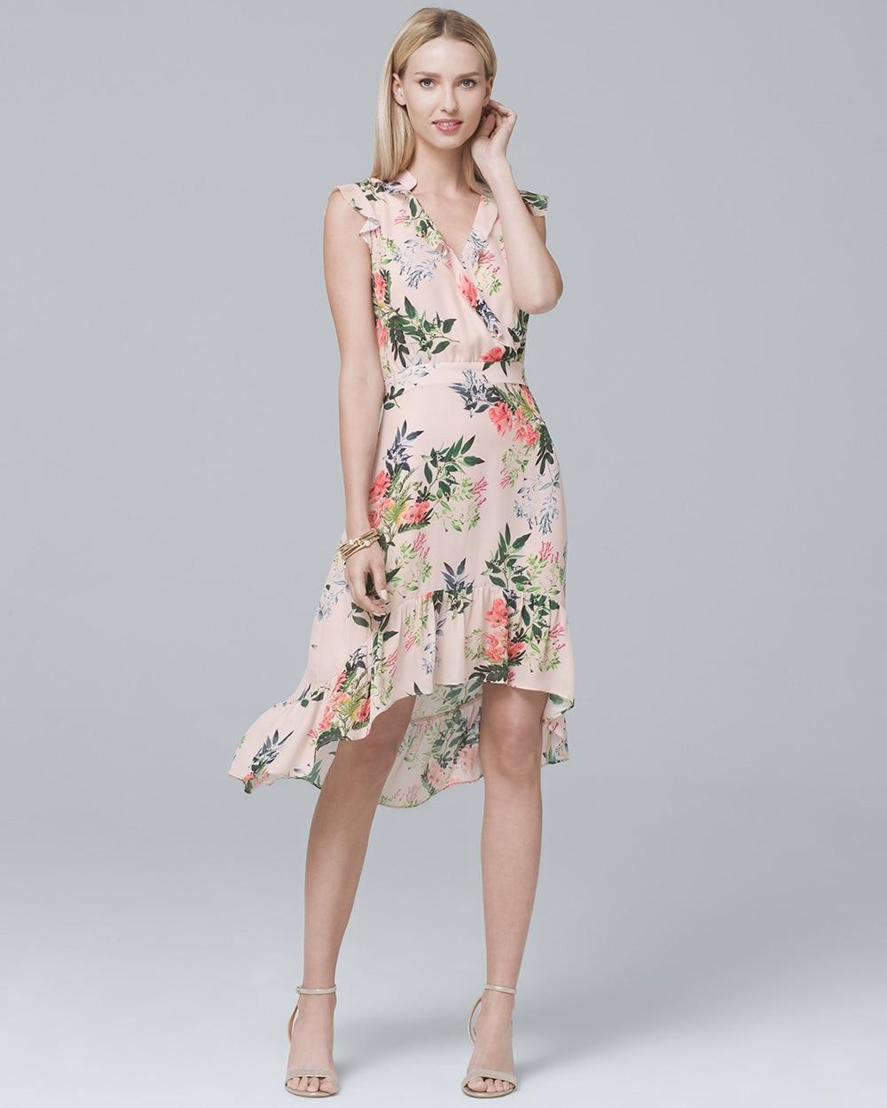 Silk Ruffle Trim Floral Dress White House Black Market