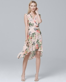 Silk Ruffle-Trim Floral Dress | Tuggl