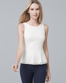 Lace Peplum Top by Whbm