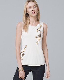 Floral-Embroidered Shell | Tuggl