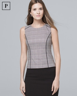 Petite Plaid Bodice Top by Whbm