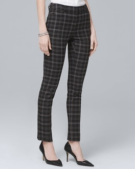 Comfort Stretch Plaid Slim Ankle Pants | Tuggl