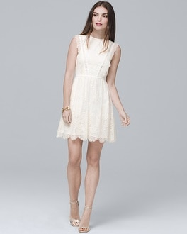 White Sleeveless Lace Fit-and-Flare Cocktail Dress | Tuggl