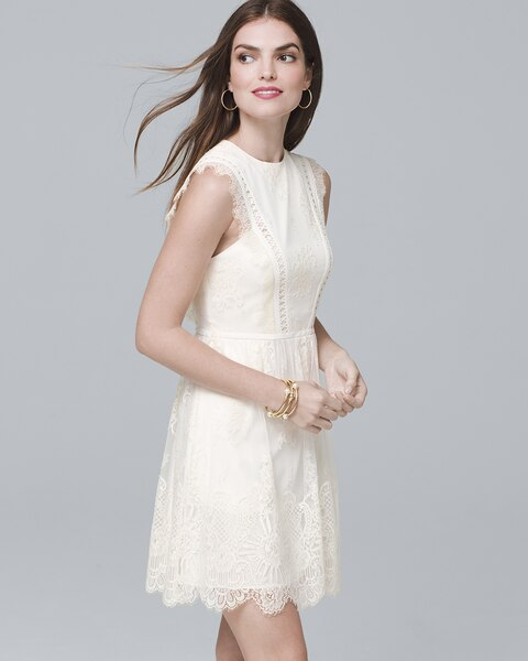 3b8031c5e66 Return to thumbnail image selection White Sleeveless Lace Fit-and-Flare  Cocktail Dress