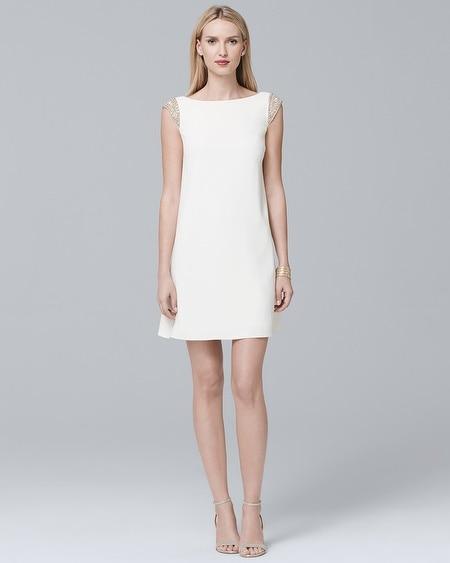 Aidan Mattox White Beaded-Shoulder Shift Dress