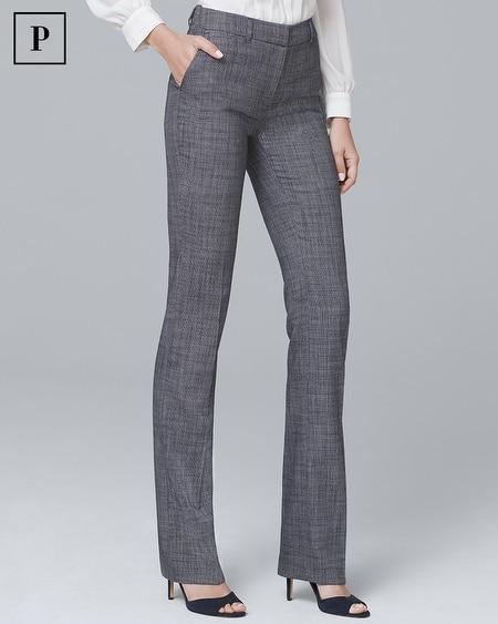 Petite Textured Suiting Slim Flare Pants