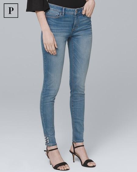 Petite Mid-Rise Faux Pearl-Trim Skinny Crop Jeans