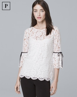 Petite Three Quarter Flare Sleeve Lace Top by Whbm