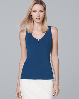 Faux Pearl Trim Sweater Tank by Whbm