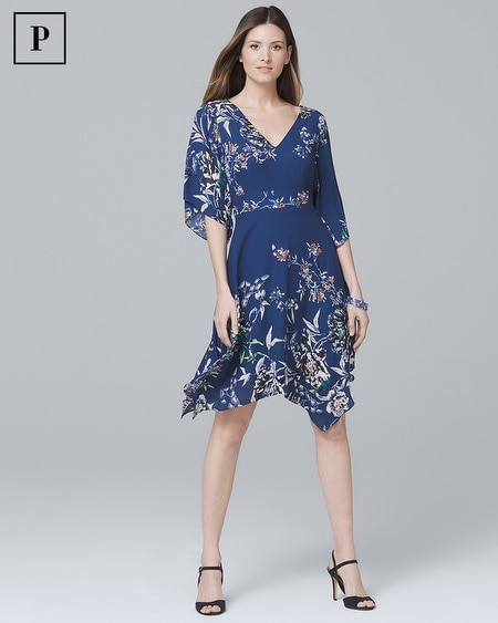 Petite V-Neck Soft Fit-and-Flare Dress