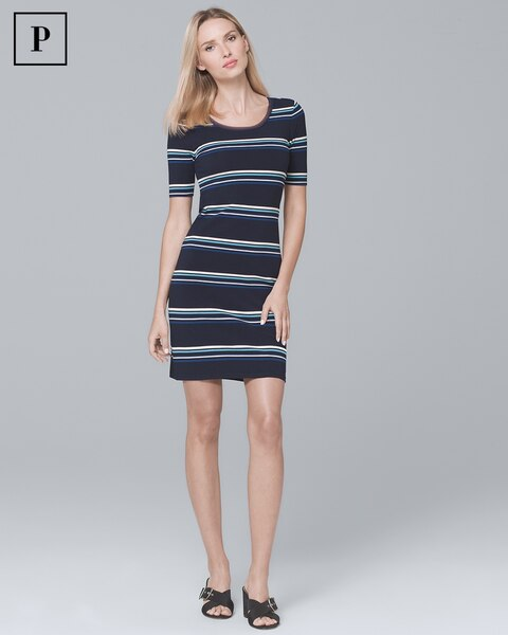 Petite Short Sleeve Stripe Knit Shift Dress White House Black Market
