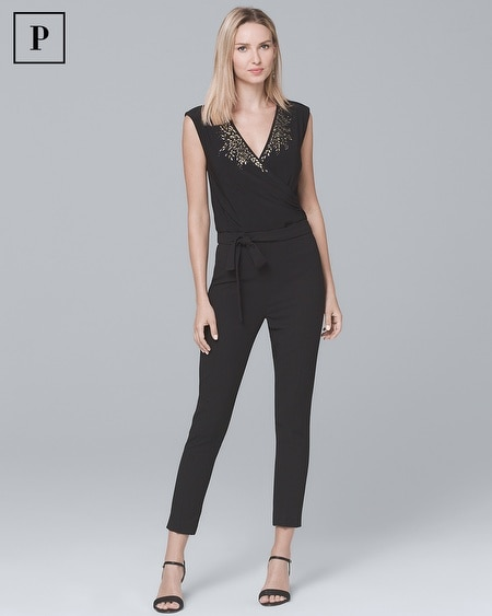 Petite Embellished V-Neck Black Knit Jumpsuit