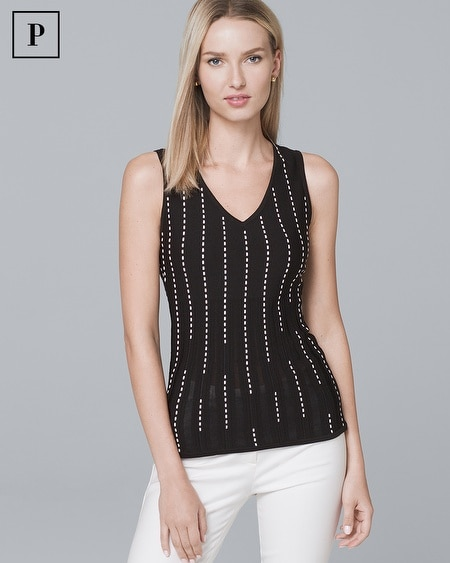 Petite Vertical-Stitched Sweater Tank