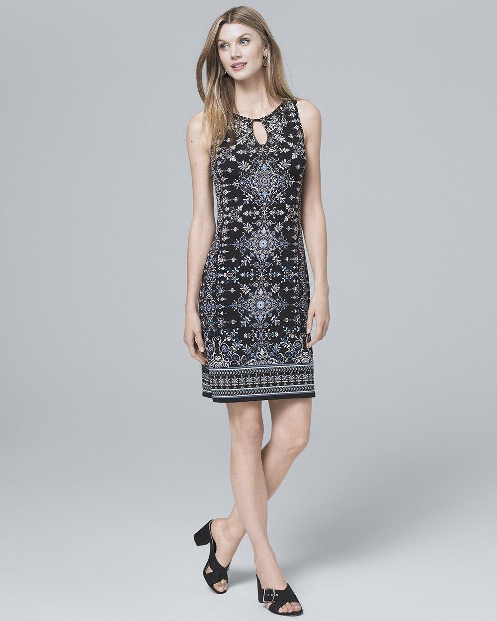692fca9f38d9 Medallion-Print Knit Shift Dress - White House Black Market