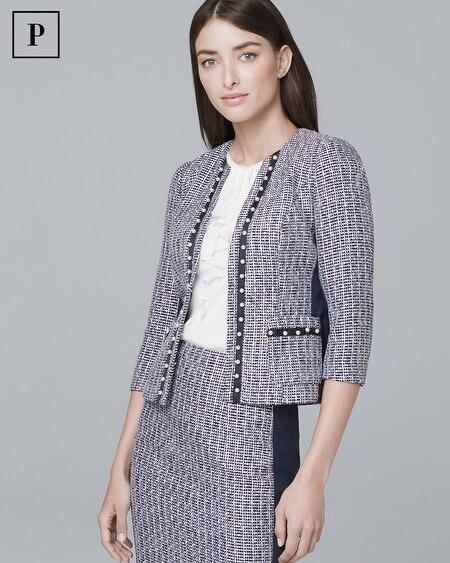 Petite Embellished Pearl Tweed Jacket